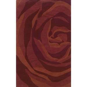 8 x 10 Area Rug Huge Rose Pattern in Brick and Rust