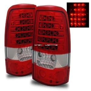 99 02 Chevy Silverado LED Tail Lights   Red Clear