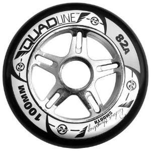 100mm CHROME RIM wheels BLACK   SMOOTH   100mm x 82a Sports