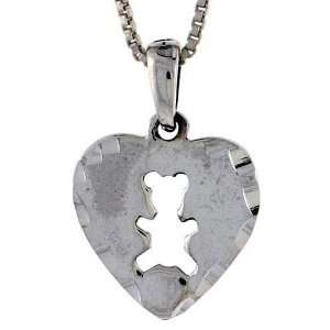 Sterling Silver Heart Disk with Teddy Bear Cut out, 11/16