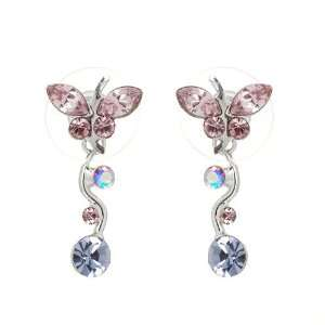 Perfect Gift   High Quality Dancing Butterfly Earrings with Purple