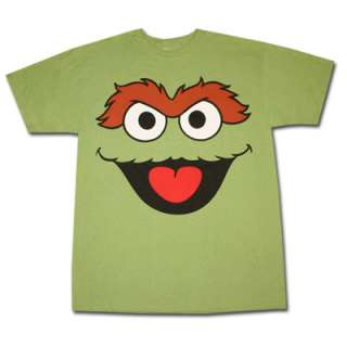 Sesame Street Oscar The Grouch Face Green Graphic Tee Shirt