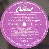RAY ANTHONY Capitol H 476 I Remember Glenn Miller EP 10
