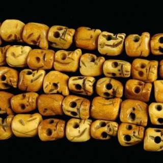 0945 10x9mm carved ox bone skull loose beads