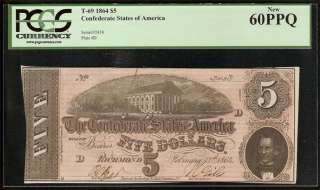UNC 1864 $5 DOLLAR BILL CONFEDERATE CURRENCY CIVIL WAR ERA NOTE T69