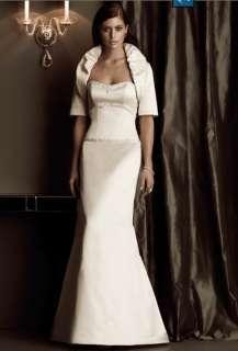 Sexy Satin Beads Mermaid Bridal Wedding Dress Gown Coat