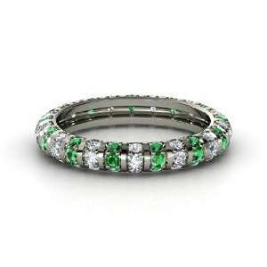 Pinstripe Eternity Band, 14K White Gold Ring with Emerald