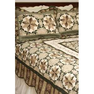 Americana Ashcroft Brown and Green Star King Quilt Set
