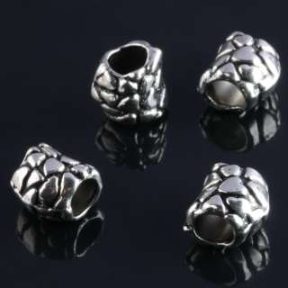 Tibetan Silver Big Hole Charm Beads Fit Bracelets 65PCS