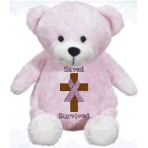teddy bear with custom embroidered Christian Breast Cancer Survivor