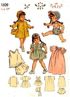 1809 12 VINTAGE DOLL wardrobe PATTERN 1940s OLD