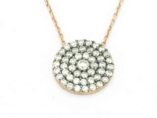 18KT ROSE GOLD STERLING SILVER DIAMOND SET PAVE DISK EVIL EYE DESIGN