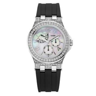 Guess Puzzle Ladies Swarovski Watch W19004L1 with Rubber Strap, Mother