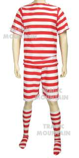 Old Fashion 1920s Bathing Suit Red White Stipe Adult Mens Costume