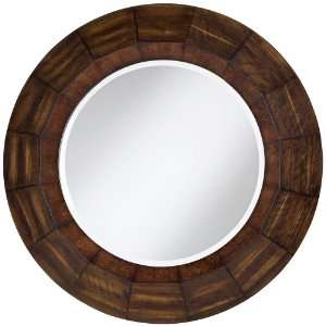 Wood Veneer Round Wall Mirror