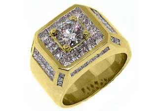 MENS 4.63 CARAT SOLITAIRE ROUND PRINCESS SQUARE CUT DIAMOND RING