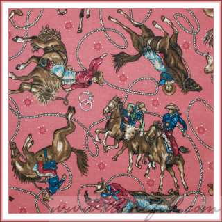 BOOAK Fabric Rodeo Western Cowgirl Horse Farm Girl VTG Pink Brown