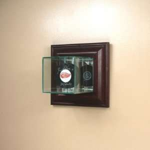 Mounted Glass Single Hockey Puck Display Case with Cherry Wood Molding