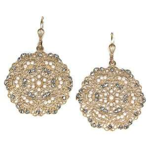 Catherine Popesco 14K Gold Plated Swarovski Crystal and Pearl Filigree