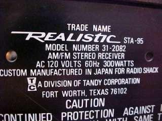 Realistic STA 95 AM/FM stereo receiver 31 2082
