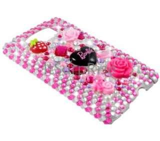 Bling Rhinestone Pink Barlie Back Hard Case Cover HTC HD2 T8585 LEO