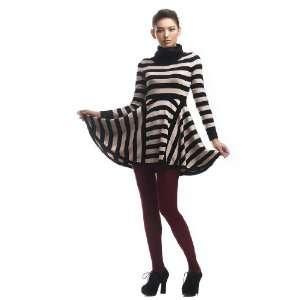2011 Autumn Winter Stripe Long Sweater Dress Wool Dress Women, Black
