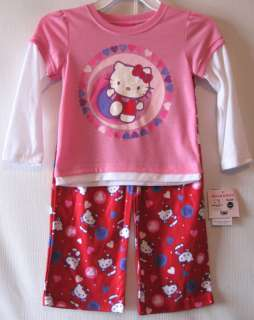 Hello Kitty Pajamas Girls size 2T 4T Valentine Pajamas