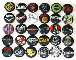 HEAVY METAL ROCK MUSIC BADGES x 30 Buttons Pins Bulk Lot Wholesale
