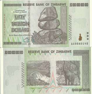 50 DOLLAR BILL PAPER MONEY ZIMBABWE TRILLION, US SELER