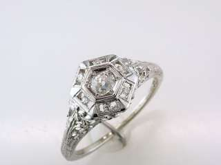 Antique Deco Genuine 0.35ct Diamond 18K White Gold Engagement Wedding