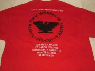 2001 CESAR CHAVEZ t shirt UNITED FARM WORKERS AFL CIO L