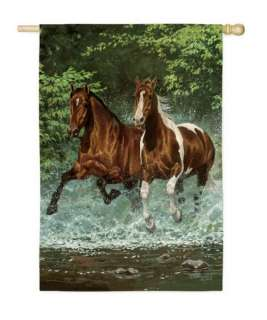 Cascade Run Horses Large Flag