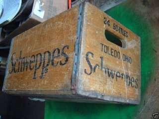 vintage wooden crate box advertising schweppes folk art