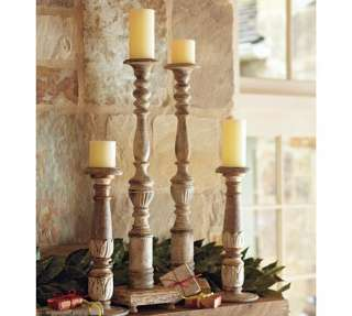 ,TABLE,CANDLE,Holders,x2,COLUMN,Wood,Columns,hand carved,