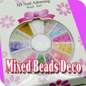 Mixed Heart Beads 3D Flower Beads in Wheel Nail Art C