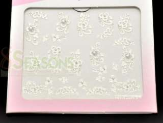 12 Pieces 3D Flower Nail Sticker Nail Art 10.5x7cm