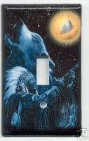 INDIAN CHIEF & WOLF HOWLING Single Light Switch Cover