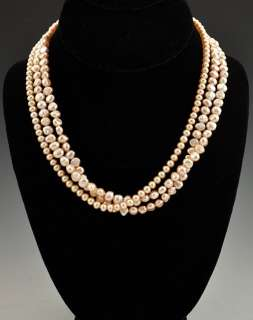 Strand Pink Genuine Baroque Pearl Necklace 14K Clasp