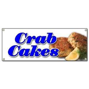 CRAB CAKES BANNER SIGN crabs cake maryland seafood fried