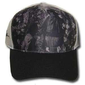 AFRO WHITE MESH BLACK GREY PICTURE ADJUSTABLE CAP HAT