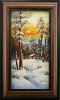 Snow Cabin Winter Forest Landscape FRAMED OIL PAINTING