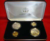 2002 Olympic Winter Games   Silver & Gold 4 Coin Set   USA   m836