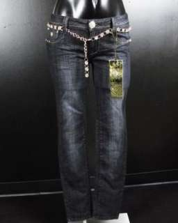 NWT Womens LA IDOL Skinny Jeans GOLD ACCENTS with Gold Belt! 1665NR