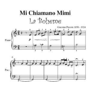 Mi Chiamano Mimi La Boheme Puccini Easy Piano Sheet Music Giacomo
