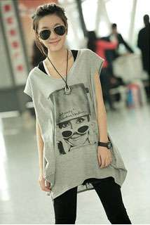 Fashion Glasses Woman Printed Plus Size Bat wing T shirt Grey i2700530