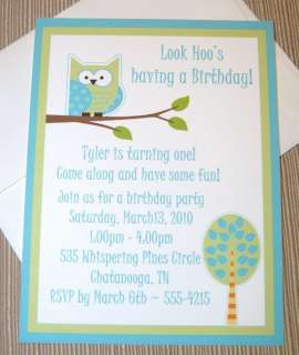 50 Blue and Green Owl Birthday, Baby Shower Invitation