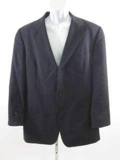 HUGO BOSS Mens Black Wool Pin Striped Button Blazer 42