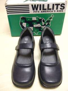 WILLITS GIRLS NAVY BLUE LEATHER MARY JANES SHOES NEW