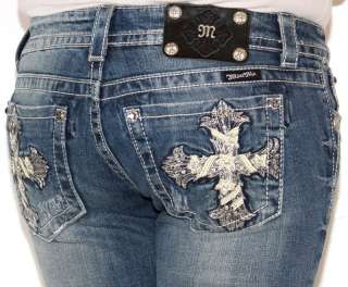 Womens MISS ME JEANS Shimmer Cross Studded Rhinestone JP5445B Bootcut