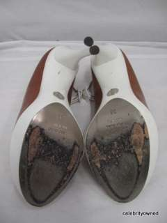 Dolce & Gabbana Brown Leather/White Patent Leather Platform Heels 38
